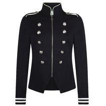 Donkerblauw met groene Military Jacket Sonia