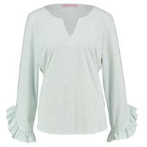 Wit met groen gestipt shirt Sita Dot