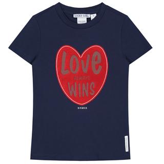 Donkerblauw t-shirt Love Wins