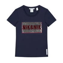 Donkerblauw t-shirt N&N Sequins
