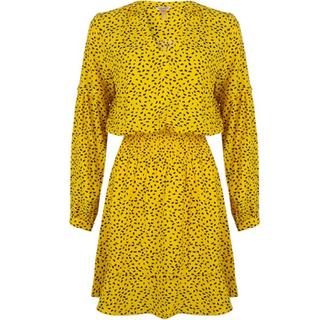 Geel geprinte jurk 14025