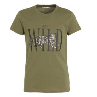 Groen geprint t-shirt Be Wild