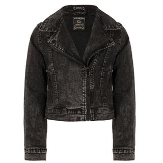 Donkergrijze denim jacket Biker