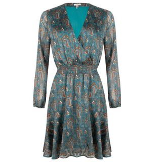 Blauwe jurk paisley 15515
