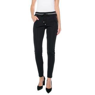 Zwarte broek boord bruin/zilver/wit