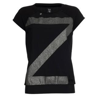 Zwarte top print met zilver