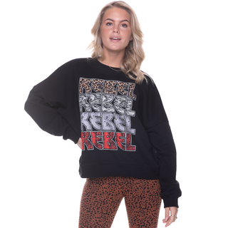 Zwarte dropped sweater Rebel Rebel
