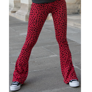 Rood geprinte flare pant Mevy Leopard