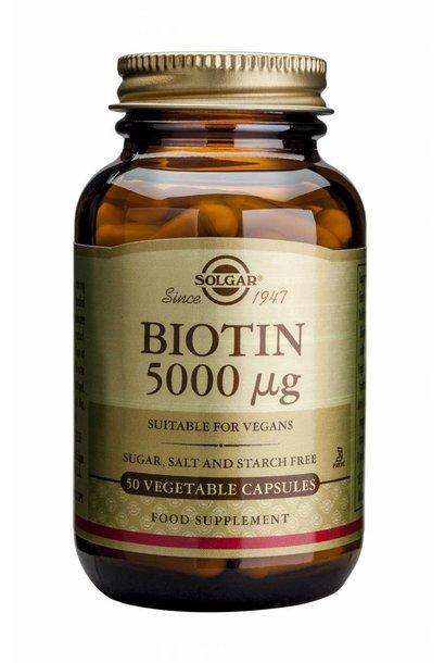 Biotin 5000 µg 50 plantaardige capsules