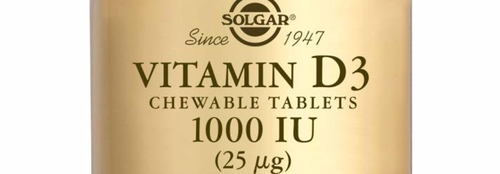 Vitamin D-3 1000 IU/25 µg Chewable Tablets 100 kauwtabletten