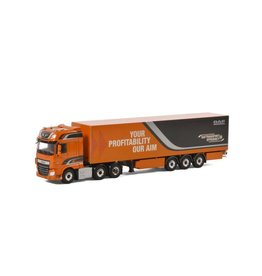 Daf DAF XF Euro 6 Super Space Cab 6x2 Twin Steer + Box Semitrailer 3 axle - 1:50 - WSI Models