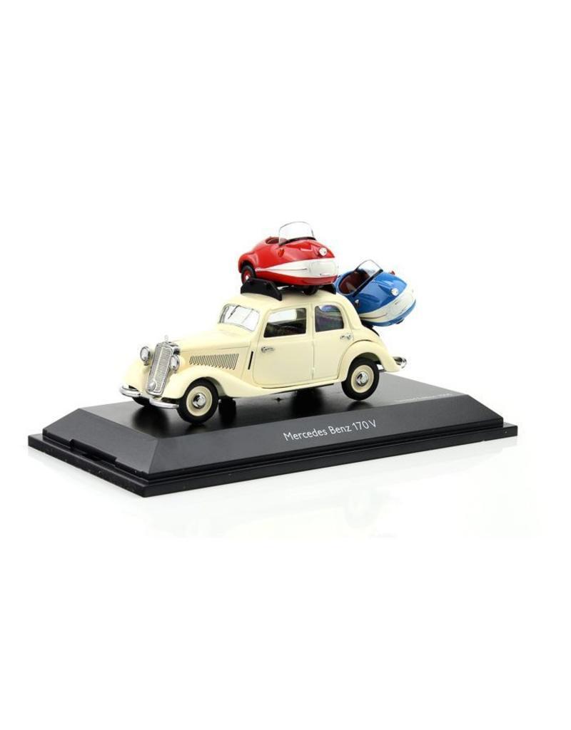 Mercedes-Benz Mercedes-Benz 170 V mit 2x Brütsch Mopetta - 1:43 - Schuco