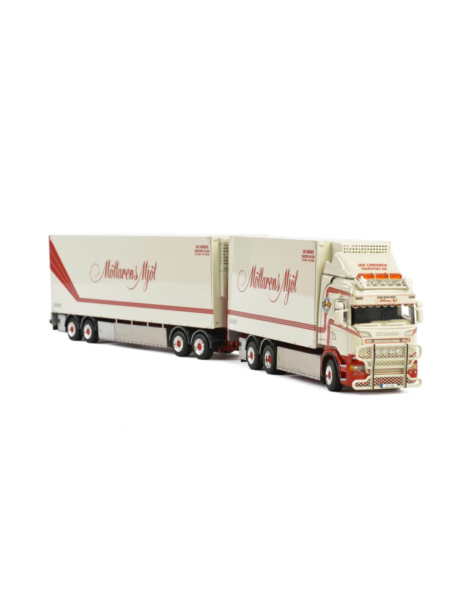 Scania Scania Streamline Highline Reefer Rigid Truck 6x2 Tag Axle + Dolly 2 axle + Reefer  Box Trailer 2 axle 'Jan Lundgren Transport' - 1:50 - WSI Models
