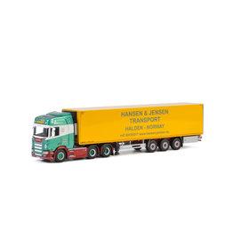 Scania Scania R Highline CR20H 6x2 Tag Axle + Reefer Semitrailer 3 axle 'Hansen & Jensen Transport' - 1:50 - WSI Models