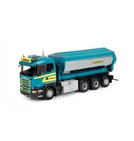 Scania Scania R Serie Rigid Truck 4 axle + Hookarm Asphalt Container 'Wellauer' - 1:50 - Tekno