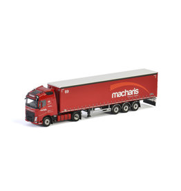 Volvo Volvo FH4 Globetrotter 4x2 + Curtainside Tautliner Semitrailer 3 axle 'Macharis' - 1:50 - WSI Models