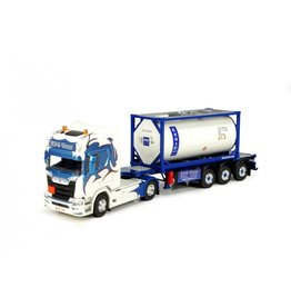Scania Scania NGS R Serie Highline 4x2 + Semitrailer 3 axle  + 20ft Exsif ISO Tankcontainer 'KVG Trans' - 1:50 - Tekno