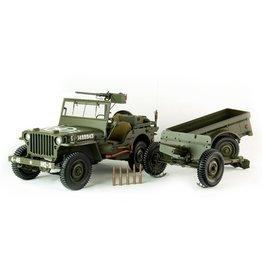 Citroen Jeep Willys MB + Trailer + 37 mm Anti Tank Gun M3 1943  - 1:8 - PremiumX - Models
