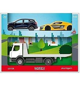 Renault Renault Truck D 2.1 Car Transporter + 2 Cars - 1:43 - Norev
