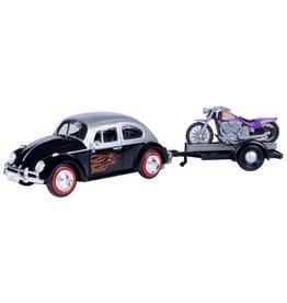 Volkswagen Volkswagen Beetle + Trailer + Motorcycle 1966 - 1:24 - Motor Max