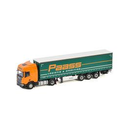 Scania Scania R Highline CR20H 4x2 + Curtainside Trailer 3 Axle 'Paass Logistik & Spedition' - 1:50 - WSI Models