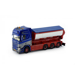 Scania Scania Next Gen R-Series Highline Rigid Truck 8x4 + Hookarm + Asphalt Container 'Flemming Paulsen' - 1:50 - Tekno