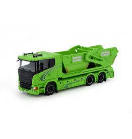 Scania Scania R-Serie Low Roof Rigid Truck 3 Axle + Laxo Hooklift System + 2x Container 'Miljo Trans' - 1:50 - Tekno