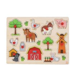 Wooden Buttons Puzzle Farm - 12 parts