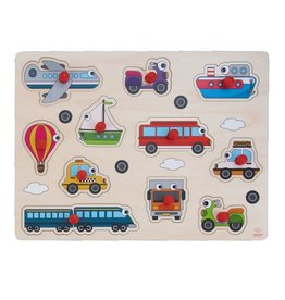 Wooden Buttons Puzzle Vehicles - 11 parts