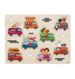 Wooden Buttons Puzzle Foodtruck - 8 parts