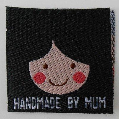 Innaailabel 'Handmade by mum' zwart