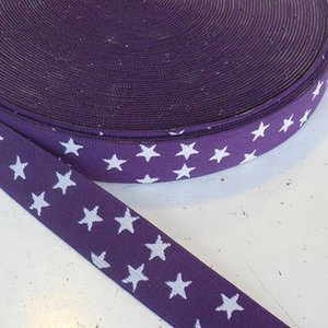 Elastische tailleband - paars met sterren (2.50 cm)