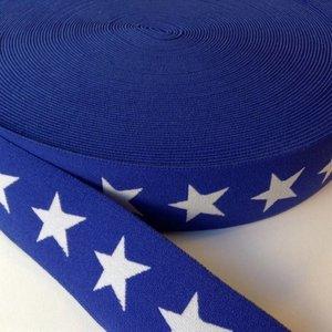 Elastische tailleband - blauw met sterren (3,80 cm)