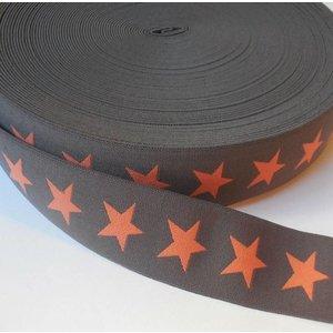 Elastische tailleband - bruin met oranje sterren (3,80 cm)