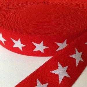 Elastische tailleband - rood met sterren (3,80 cm)