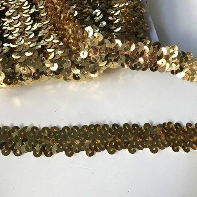 Elastische paillettenband goud