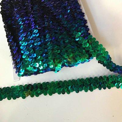 Elastische paillettenband blauw-groen