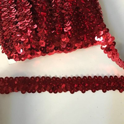 Elastische paillettenband rood