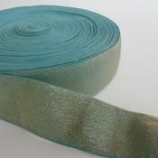 Elastische tailleband - glitter goud & blauw (4 cm breed)