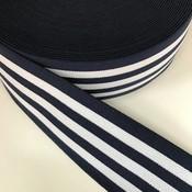 Elastische tailleband - marine met witte strepen (3,80 cm)