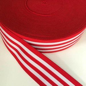 Elastische tailleband - rood met witte strepen (3,80 cm)
