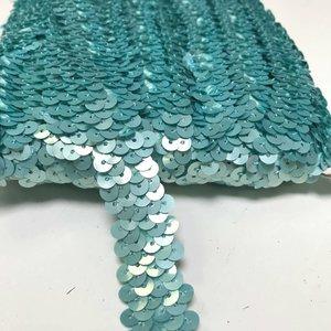 Elastische paillettenband mint/lichtblauw