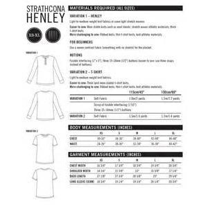 Strathcona Henley mannen T-shirt - pdf-patroon)