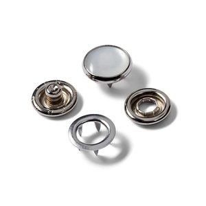 Drukknopen, metaal zilver met parel (12mm)