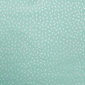 Rico Design - Gelamineerd Katoen - Munt zilveren streepjes