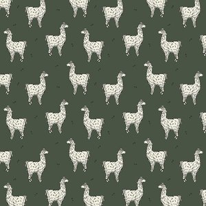 Lucky Llama Forest Green - Bloome - French terry