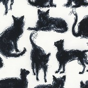 Timeless Treasures Scribble cats  - katoen