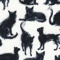 Timeless Treasures - Scribble cats  - katoen