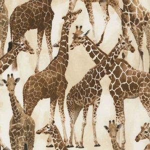Timeless Treasures - Wild - Giraffen  - katoen