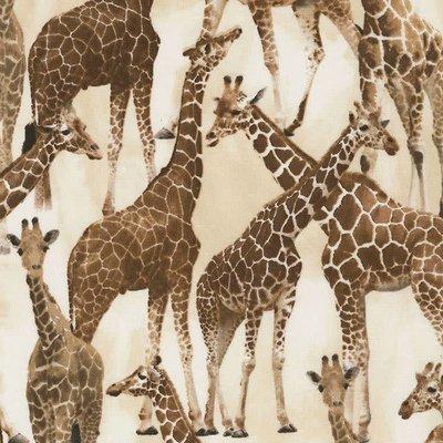 Timeless Treasures Wild - Giraffen  - katoen